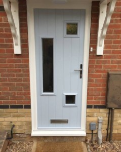 Contemporary Front Door with vision panels