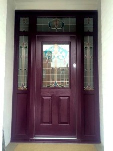 Gorgeous Aubergine Composite Entrance Door with Vision Panels