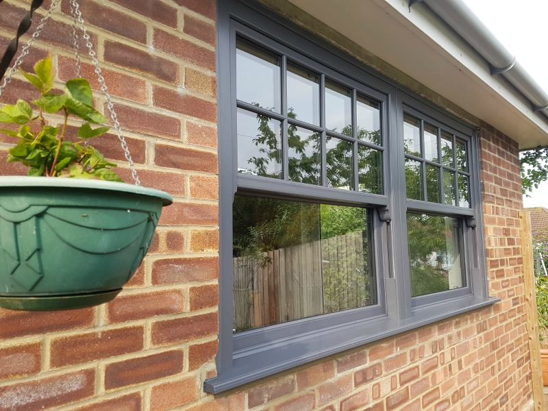 UPVC Sash Windows in Slate Grey
