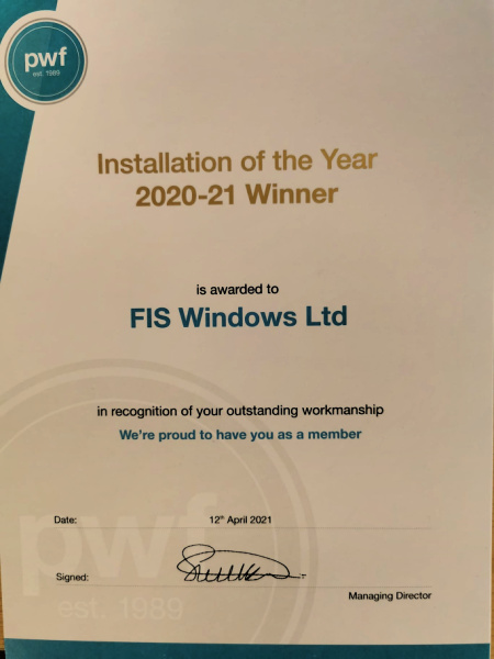 Plastic-Window-Federation-Award